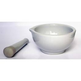 Mortier 100 ml en porcelaine émaillée avec bec verseur et son pilon