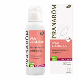 Spray circulation PRANAROM Ultra frais. Idéal contre les jambes lourdes et fatiguées, il donne une sensation de fraicheur et de légèreté immédiate.